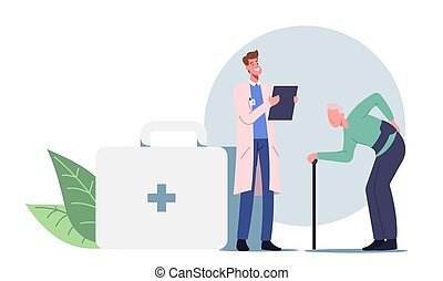krückstock, gehen, rückenschmerzen, mann, wunde, treatment., krankheit, zurück, altes , besuchen, hexenschuss, doktor, zeichen, diagnose
