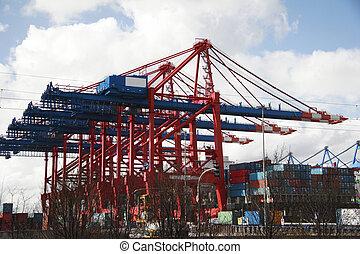 Kranich am Landestadium - Hafen von Hamburg, Deutschland (A)