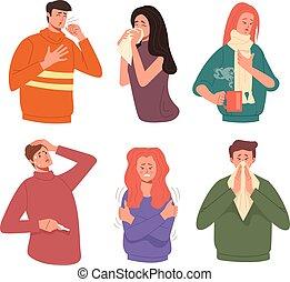 krank, vektor, krankheit, abbildung, wohnung, grafik, symptome, krank, freigestellt, charaktere, kalte , leute, grippe, set., design, karikatur