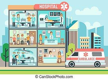 Krankenhaus, Krankenhausgebäude, Krankenwagen mit Patienten und Ärzten Gesundheitswesen Vektor flache Illustration