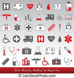 Krankenhaus- und Gesundheits-Ikonen