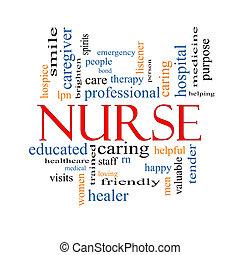 krankenschwester, begriff, wort, wolke
