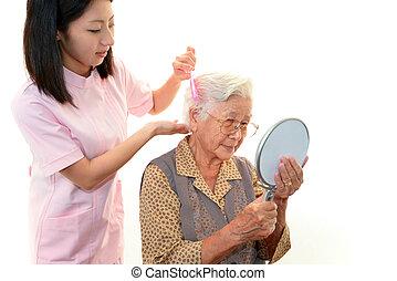 krankenschwester, frau, senioren