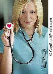 krankenschwester, liebe, weibliche