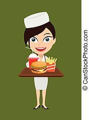 krankenschwester, -, präsentieren, schnelle speisen