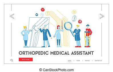 krankheit, colleague., healthcare, traumatologist, orthopädie, patient, linear, behandlung, röntgenaufnahme, template., landung, seite, leute, gelenk, diskutieren, blick, concilium, zeichen, doktor, abbildung, vektor