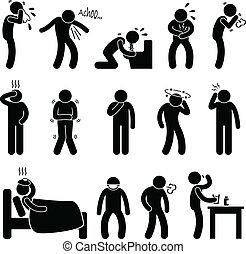 krankheit, krankheit, symptom, krankheit