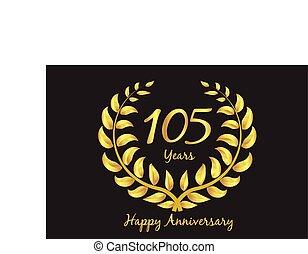 kranz, lorbeer, gold, jubiläum, happy105th