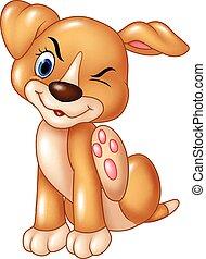 kratzen, baby, hund, juckreiz, karikatur