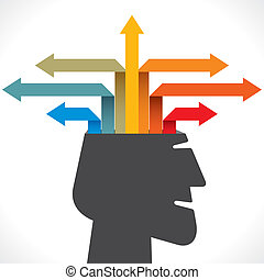 kreativ, heraus, oder, pfeil, info-graphics