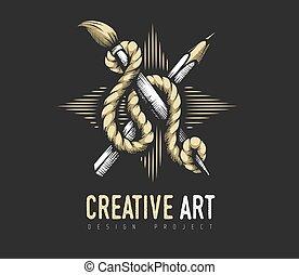kreativ, rope., emblem, ritterwappen, bleistift, concept., bürste, kunst