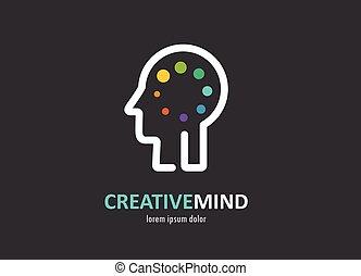 Kreative, digitale abstrakt bunte Ikone von menschlichem Gehirn, Geist, Symbol