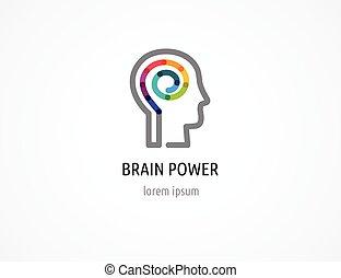 Kreative, digitale abstrakte, bunte Ikone von menschlichem Kopf, Geist, Gehirnsymbol.