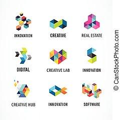 Kreative, digitale abstrakte farbige Icons, Elemente und Symbole, Logo-Sammlung, Vorlage.