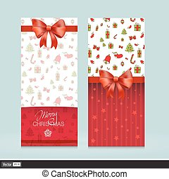 Kreative Grußkarten mit roten Bögen. Weihnachts-Vektor-Veranschauung. Einladung zum Urlaub.
