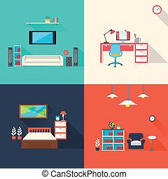 Kreative Möbel Icons in flachem Design.