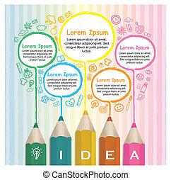 Kreative Vorlage infographic mit bunten Bleistiften Zeichnung Linie.