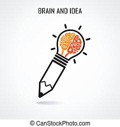 Kreatives Gehirn und Bleistiftzeichen