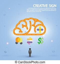 Kreatives Gehirnsymbol, Kreativitätszeichen, Business Symbol, Wissen und Bildung Ikone