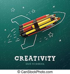 Kreativität lernen. Rocket mit Bleistiften