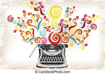 Kreativität - Schreibmaschine mit abstraktem Wirbel