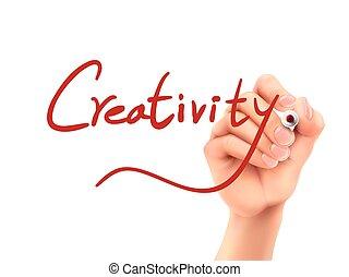 Kreativitätswort geschrieben von Hand.