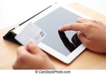 kredit, tablette, shoppen, karte, online