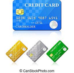 Kreditkarte eingestellt. Vector Illustration
