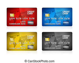 kreditkarte, sammlung, freigestellt