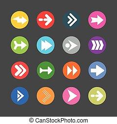 kreis, einfache , form, internet, set., zeichen, ikone, pfeil, taste, hintergrund., graue