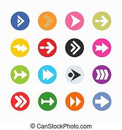 kreis, graue , hintergrund., ikone, einfache , pfeil, taste, form, internet, zeichen, set.