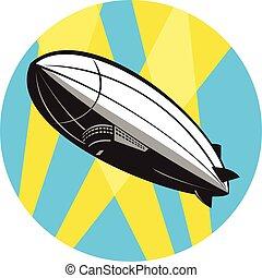 kreis, kleinluftschiff, fliegendes, retro, oben, zeppelin
