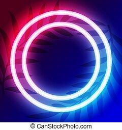 kreis, raum, text, neon, rahmen, design