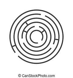 Kreisring-Labyrinth auf weißem Hintergrund. Vector