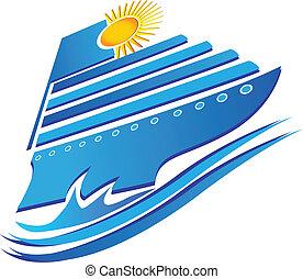 Kreuzfahrt Sonne und Wellen Logovektor