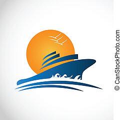 Kreuzfahrtschiff Sonne und Wellen-Logo.
