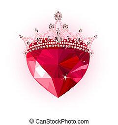 Kristallherz mit Krone.