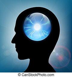 Kristallkugel im menschlichen Kopf. Aktienvektor.