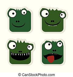 krokodil, emoticons, satz
