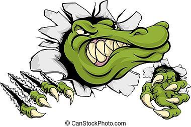 Krokodil oder Alligator, der durch die Wand einschlägt.