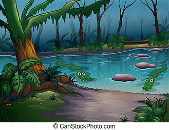 Krokodile in einem Fluss