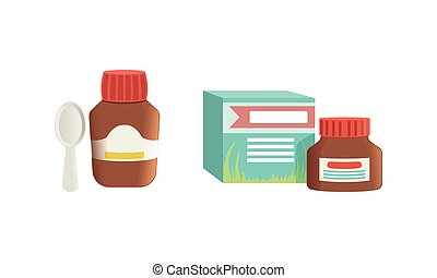 krug, medikation, abbildung, salbe, karikatur, hustensaft, vektor, flaschen, satz