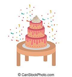 Kuchen auf Holztisch von Happy Birthday.