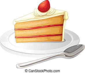kuchen, platte, weißes, scheibe, zuckerguß