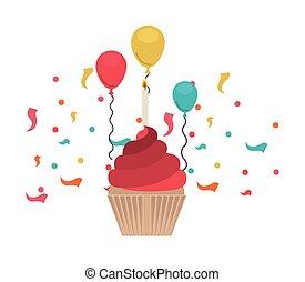 Kuchen von Happy Birthday auf weißem Hintergrund.