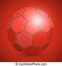 kugel, abstrakt, fußball, rotes , 3d