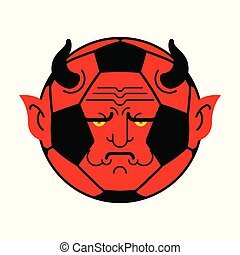 kugel, demon., abbildung, vektor, devil., fußball, rotes