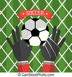 kugel, hand, handschuhe, fußball, torwart, rotes