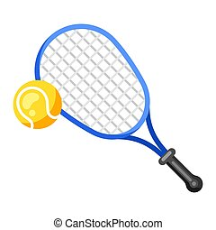 kugel, ikone, style., tennisschläger, wohnung
