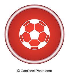 kugel, illustration., hintergrund., vektor, fußball, rotes , ikone